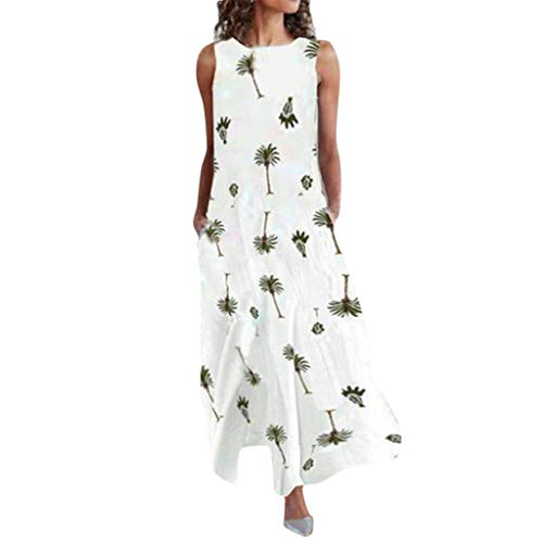 Shusuen Beach Dresses for Women Tshirt Sundresses Boho Casual Sleeveless  Floral Shift Pockets Swing Loose White