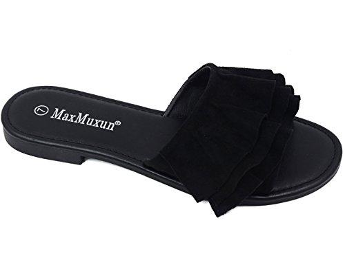 (MaxMuxun Women Shoes Suede Ruffle Flat Sandals Black Comfort Slip On Size 10 )