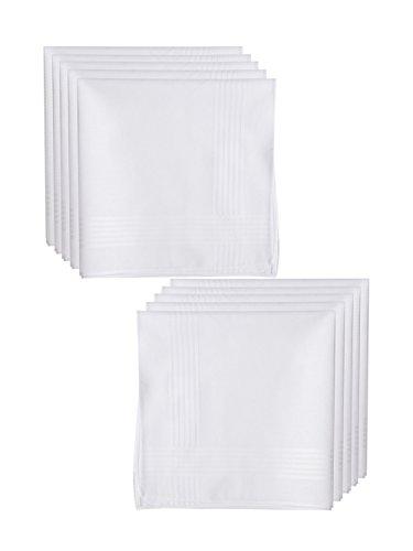 10 Weiße Herren Taschentücher Stofftaschentücher 100% Baumwolle, 40 cm x 40 cm