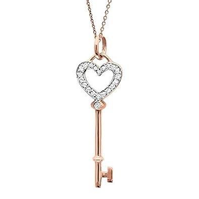 28d856de804f Diamante Corazón Llave Colgante Collar 14 K Rose Oro 0