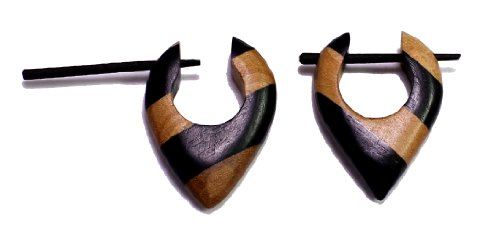 [A Pair of Brown Black Strap Design Wooden Boho Hippie Wood Earrings Sew_242] (Tribal Costumes Of India)