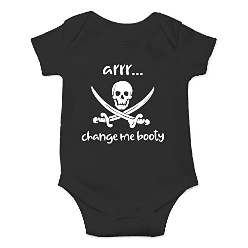 (Arrr Change Me Booty - Hilarious Pirate Joke, Captain Adorable - Cute One-Piece Infant Baby Bodysuit (6 Months, Black))