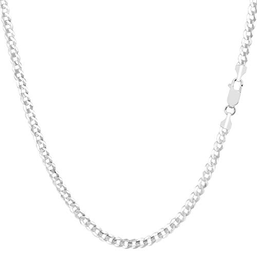 TheDiamondDeal Mens Solid 14K Yellow Or White Gold 2.6mm Shiny Cuban Comfort Curb Chain Necklace For men for Pendants Or Bracelet with Lobster-Claw Clasp (10