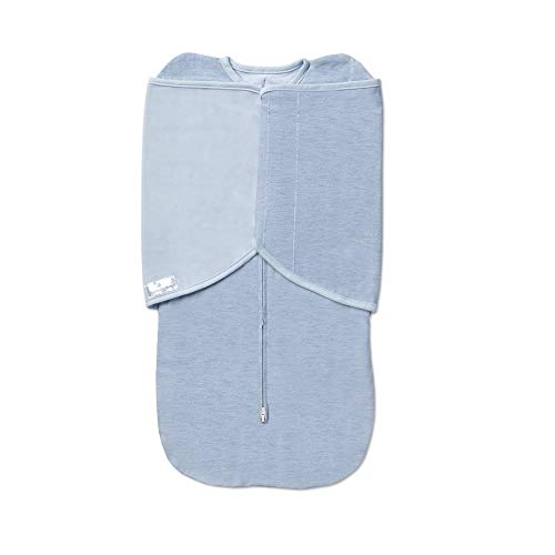 BreathableBaby Adjustable 3-in-1 Soft Premium Cotton Swaddle Trio, One Size (0-4 months) - Blue Heather