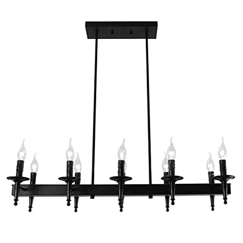 Pendant Wrought Island Iron (Unitary Brand Antique Black Metal Wrought Iron Kitchen Candle Island Lighting with 10 E12 Bulb Sockets 600W Painted Finish)