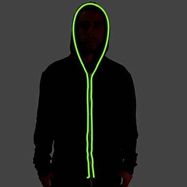 Men\'s Black Light Up Hoodie with Green EL Wire LED Glow Flashing ...
