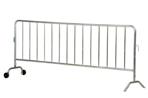 Vestil-PRAIL-102-HD-G-W-Steel-Crowd-Control-Interlocking-Barrier-with-1-Wheel-and-1-Curved-Foot-Heavy-Duty-34-Rail-Diameter-L-x-W-x-H-102-x-20-x-42-Zinc-Plated