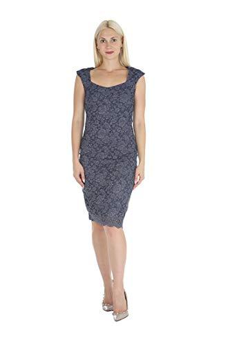 ONYX Nite Women's Cap Sleeve Sweetheart Neckline Shimmer Lace with Scallop Hem Dress Denim 14