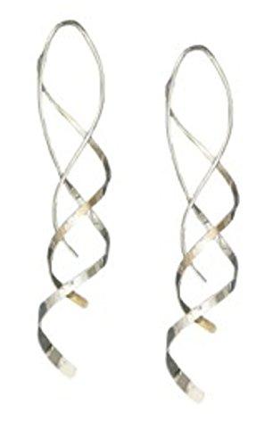 Silver Wire Dangle Wrap (Sterling Silver Fancy Long Double Wire Wrap Drop Dangle Earrings)