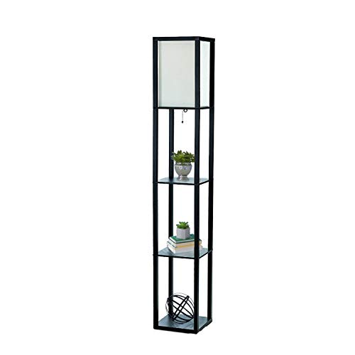 (Simple Designs Home LF1014-BLK Etagere Organizer Storage Shelf Linen Shade Floor Lamp, Black)