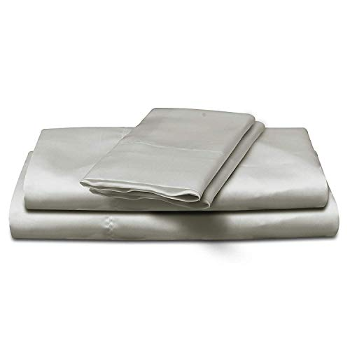 4-Piece Super Soft Silky Satin Bed Sheet Set, Multiple Colors (King, Silver) - Bedding Silk Piece 4