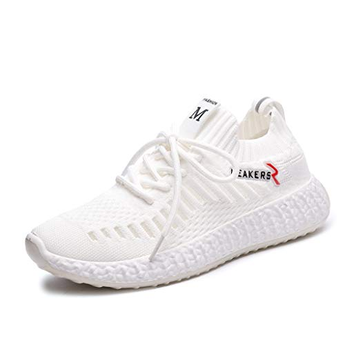 WENSY Summer Women's Casual Outdoor Casual Shoes Fly Woven Breathable Mesh Women's Shoes Wild Sports Running Shoes(White,37)