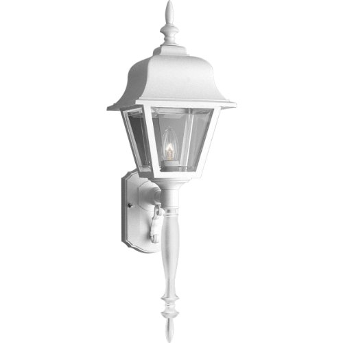 Progress Lighting P5657-30 Wall Lantern with Tail and Clear, Beveled Acrylic Panels, White