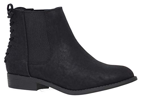 MVE Shoes Women's Stylish Elastic Side Panel Ankle Riding Chelsea Booties Shoes, Black 8.5
