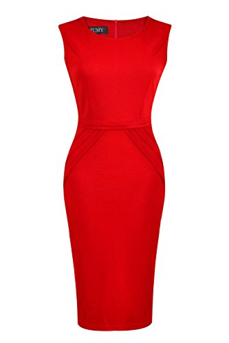 HCMY Wear To Work Sleeveless Midi Evening Dresses for Women Formal Red XL