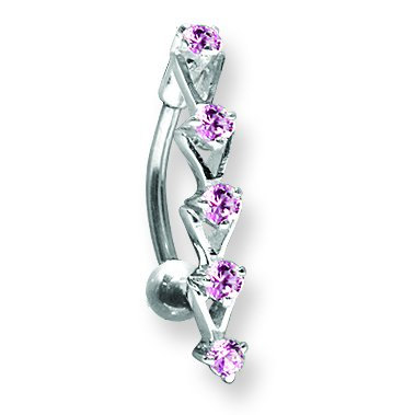 13//32 1.6mm Long 5 11mm Jewelry by Sweet Pea SGSS Curv BB w Upside Down Gem Charm 14G