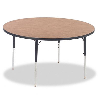 Virco® 4000 Series Round Activity Table, 48 Dia. X 30H, Medium Oak/Chrome ()