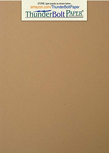 - 50 Brown Kraft Fiber 80# Cover Paper Sheets - 5