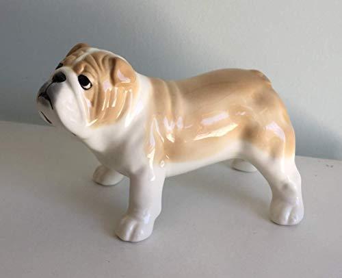 English bulldog fawn back porcelain figurine, handmade, porcelain dog figurine