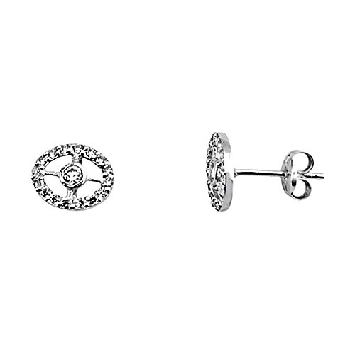 Boucled'oreille 18k or blanc ovale zircons clôture [AA6169]