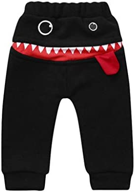 Baby Pants,Toddler Baby Kids Girls Boys Cartoon Shark Character Letter Tongue Harem Pants Toddler Thick Warm Trouser for 0-3 Years Old Kids Solid Pants Leggings