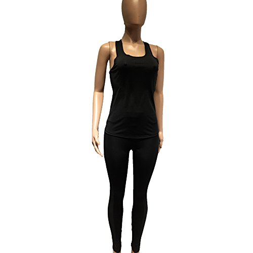 Women Breathable Sexy Yoga Bodysuits Sports Vest and Mesh Compression Yoga Leggings Unitard (Prestige Vest Mesh)