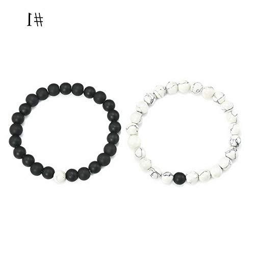 Florance jones 2X Distance Agate Black Lava Stone Beads Bracelets Lovers Couples Gift Jewelry   Model BRCLT - 45505   #1(2Pcs Bracelets) ()
