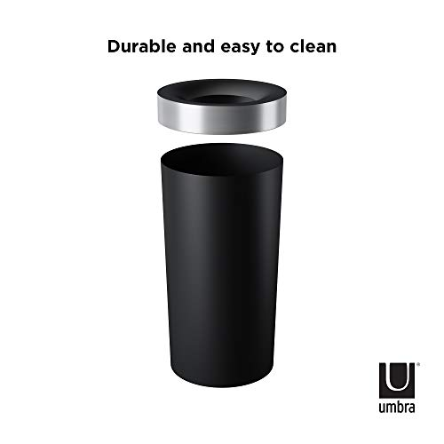 Umbra Vento Open Top 16.5-Gallon Kitchen Trash Large, Garbage Can for Indoor, Outdoor or Commercial Use, Black/Nickel