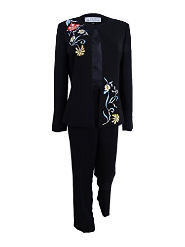 Tahari by Arthur S. Levine Women's Plus Size Crepe Pant Suit with Floral Embroidery on Jacket, Black, 14W -