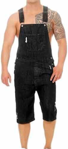 b917354212 Jotebriyo Men's Retro Straight Leg Multi Pockets Overalls Ripped Destroyed Denim  Shorts Jeans