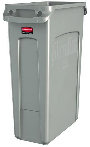 Rubbermaid Commercial Products Slim Jim Trash Can Waste Receptacle with Venting Channels, 23 Gallons,Beige (FG354060BEIG)