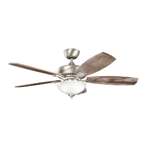Kichler 337016NI Canfield Pro 52IN 5-Blade 2LT Ceiling Fan, Brushed Nickel Finish with Reversible Walnut/Cherry Blades and Light Kit