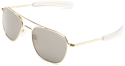 Randolph Aviator Square Sunglasses, 55, 23K Gold, Bayonet, Gray Lenses by Randolph Engineering
