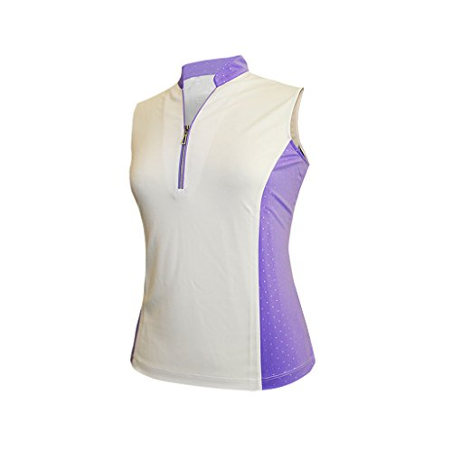 (Monterey Club Ladies Dry Swing Sleeveless Colorblock Shirt #2291 (White/True Violet, Medium))