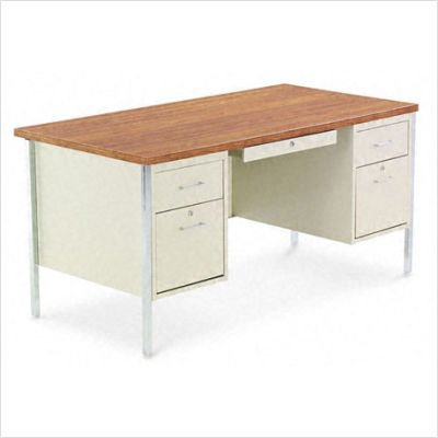 Alera Double Pedestal Steel Desk, Metal Desk, Mocha/Black (Double Pedestal Desk)