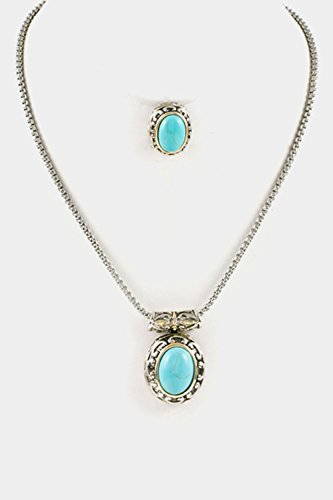 Karmas Canvas Oval Gem Stone with Framed Pendant Necklace Set (Framed Oval Pendant)