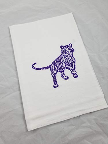 Purple Tiger Swirl Embroidered Cotton Flour Sack Kitchen Tea Towel