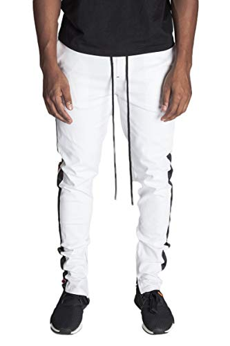 - KDNK Men's Tapered Skinny Fit Stretch Twill Ankle Zip Double Stripe Track Pants