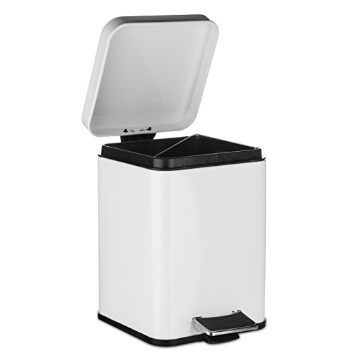 (AMG and Enchante Accessories, Rectangular Waste Bin, 5L Garbage Trash Can with Step Foot Pedal, WB05W WHT, Glossy White)