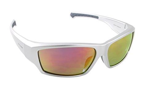Optic Edge Freelance Sunglasses, Shiny Pearl Silver Frame, Fire Orange Mirrored Polycarbonate -