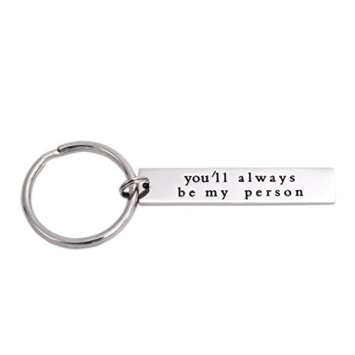 LParkin You'll Always Be My Person Stainless Steel Rectangle Keychain Keyring Best Friend Boyfriend Girlfriend (Person-Keychain-02)