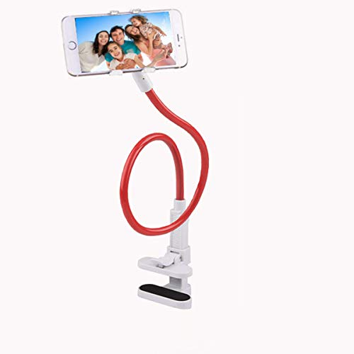 Phone Stand,Cell Phone Holder,Gooseneck Lazy Bracket, DIY,360 Rotating Mounts with Multiple Function, For Kitchen,Bedroom.Office Desk-Red