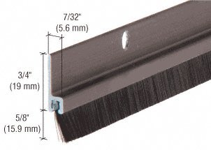 Brass Door Sweep - Dark Bronze Anodized and Nylon Door 5/8