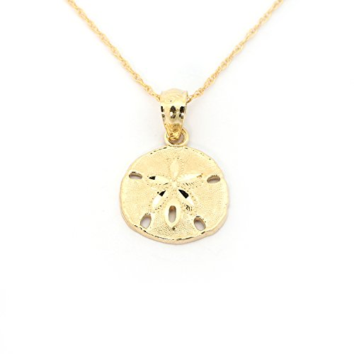 Beauniq 14k Yellow Gold Small Sand Dollar Pendant Necklace, 18 inches