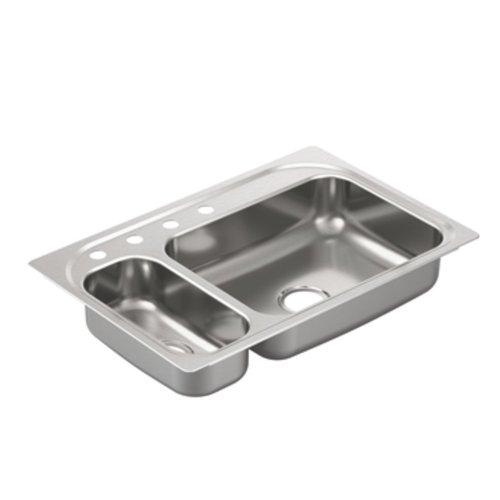 Best Moen G202854 2000 Series 20 Gauge Double Bowl Undermount Sink Stainless Steel Reviews From