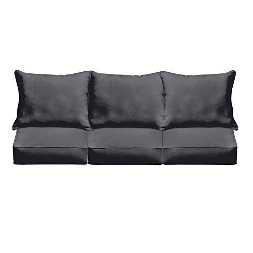 Sloane Black Stain and mildew resistant Corded Cushion and Pillow Sofa Set Indoor/ Outdoor