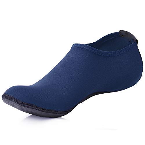 JACKSHIBO Men Women Quick-Dry Water Skin Shoes Aqua Socks Water Sports Swim Surf Yoga Exercice Beach Navy Blue 13-14.5 M US Women/11-13 M US - Neoprene Aqua Shoes