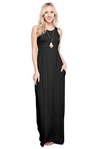 - Maxi Dresses for Women Solid Lightweight Long Racerback Sleeveless W/Pocket -Black (Small)