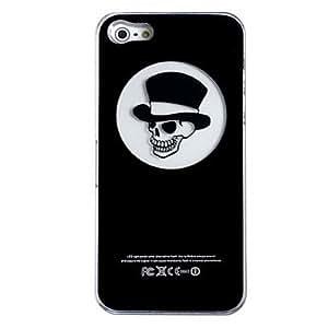New Sense Hat Skull Flash Light LED Color Changing Hard Case for iPhone 5 , Black