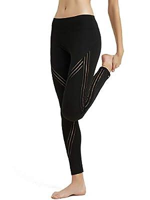 MCEDAR Women's Sport Yoga Leggings High Waist Workout Pants Mesh Tights for Running Jogging Gym